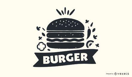 Design de logotipo de carimbo de hambúrguer
