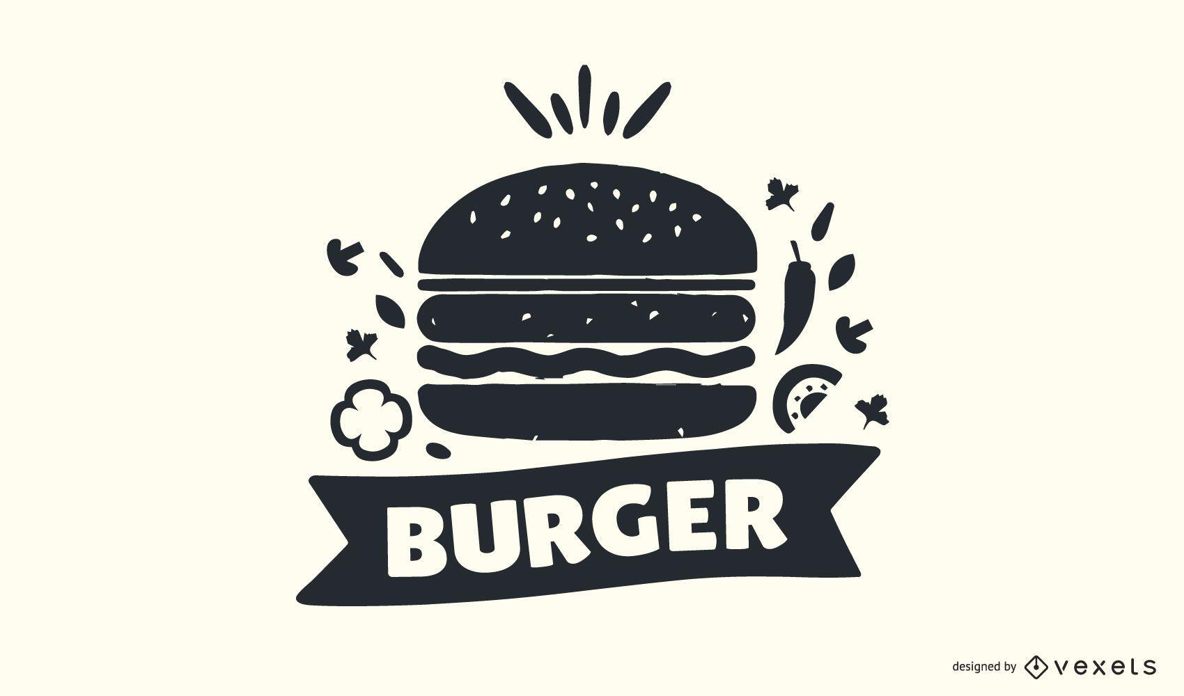Burger Stamp Logo Design