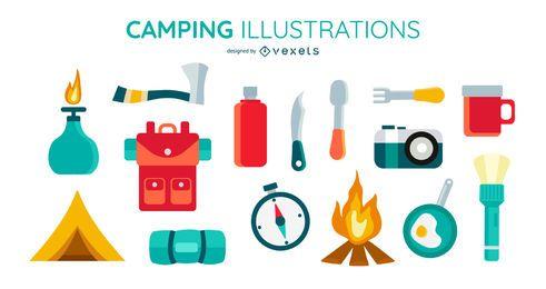 Conjunto de elementos planos de camping
