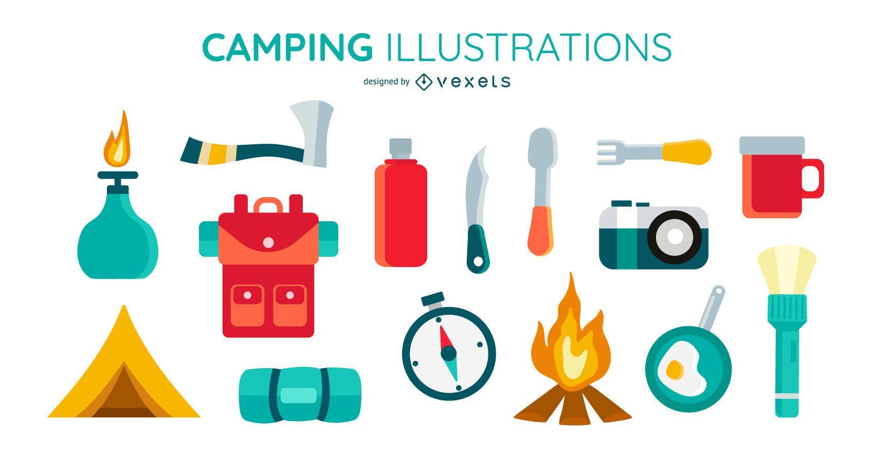 Conjunto de elementos planos de acampamento
