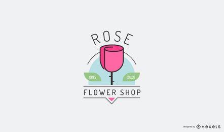 Modelo de logotipo de flor rosa