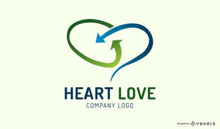 Modelo de logotipo de coração de setas