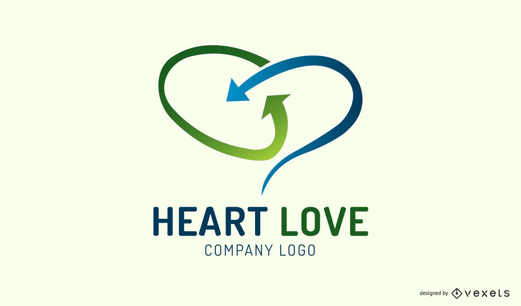 Arrows heart logo template