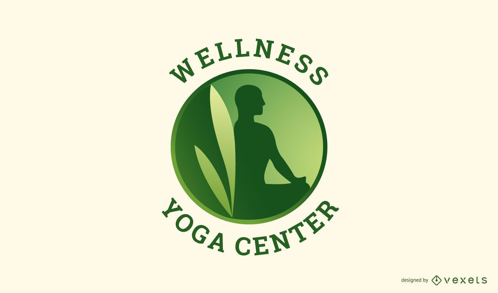 Design de logotipo de ioga para bem-estar
