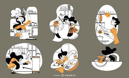 Conjunto de personajes de cocina