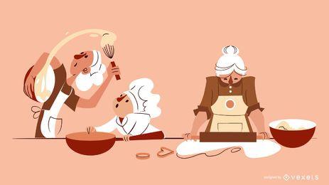 Composição de ilustração de personagens de padaria