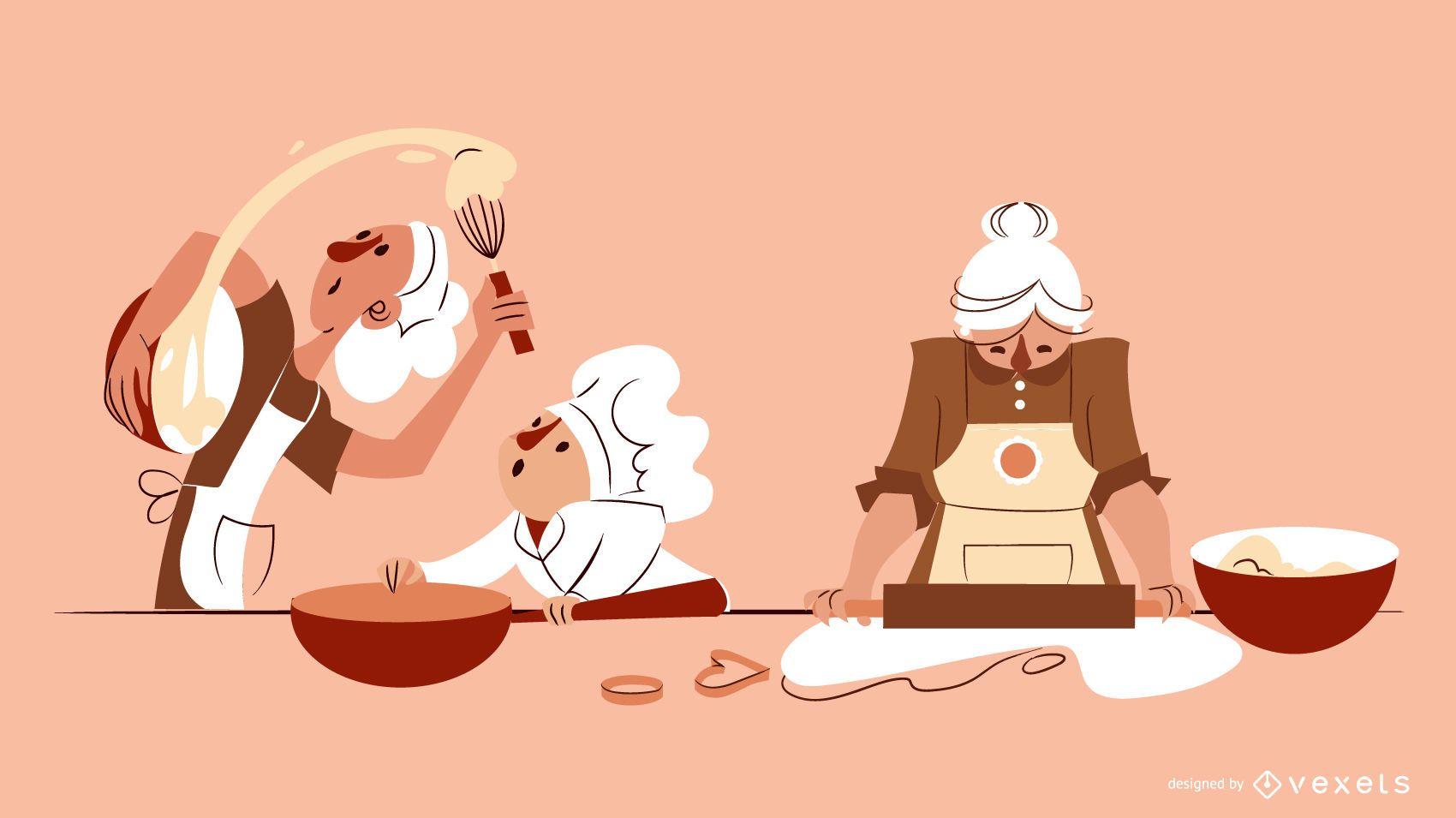Composición de ilustración de personajes de panadería