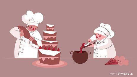 Conjunto de design de personagens de chefs de confeitaria