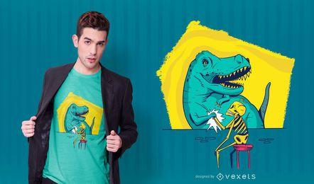 Design de camiseta com esqueleto e t-rex