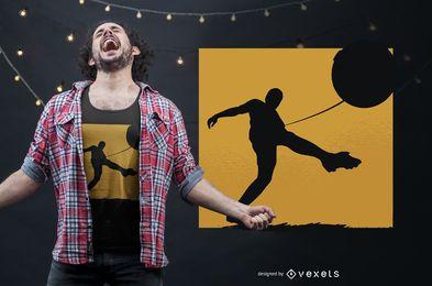 Fußballschattenbild-T-Shirt Entwurf