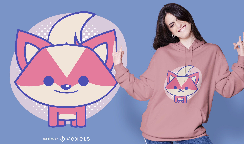 Design fofo de t-shirt raposa