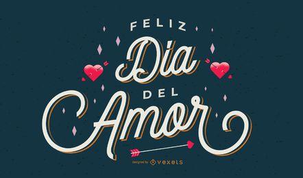 Diseño de letras en español de san valentín
