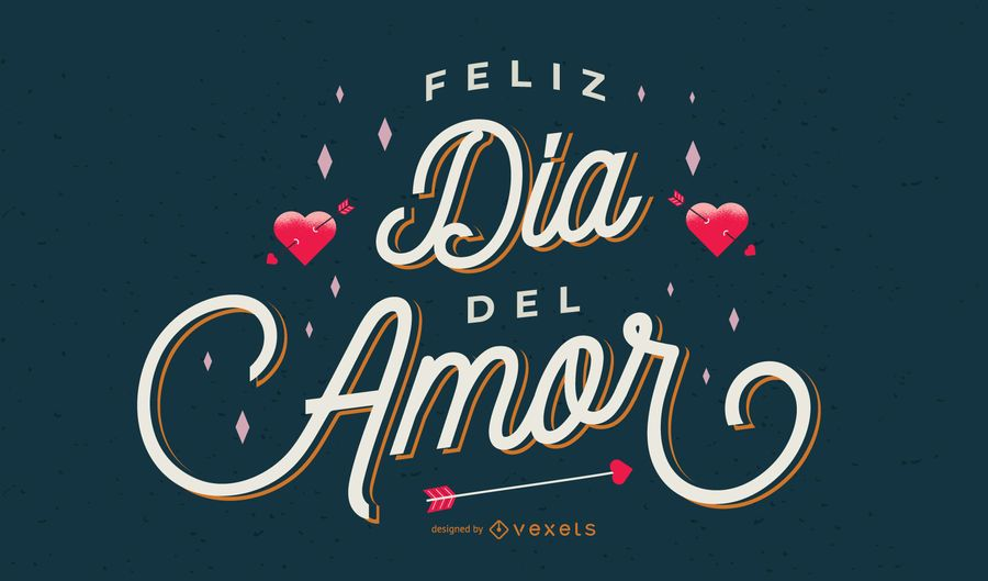 Desenho de letras em espanhol do dia dos namorados