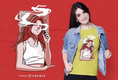 Diseño de camiseta de chica fumando