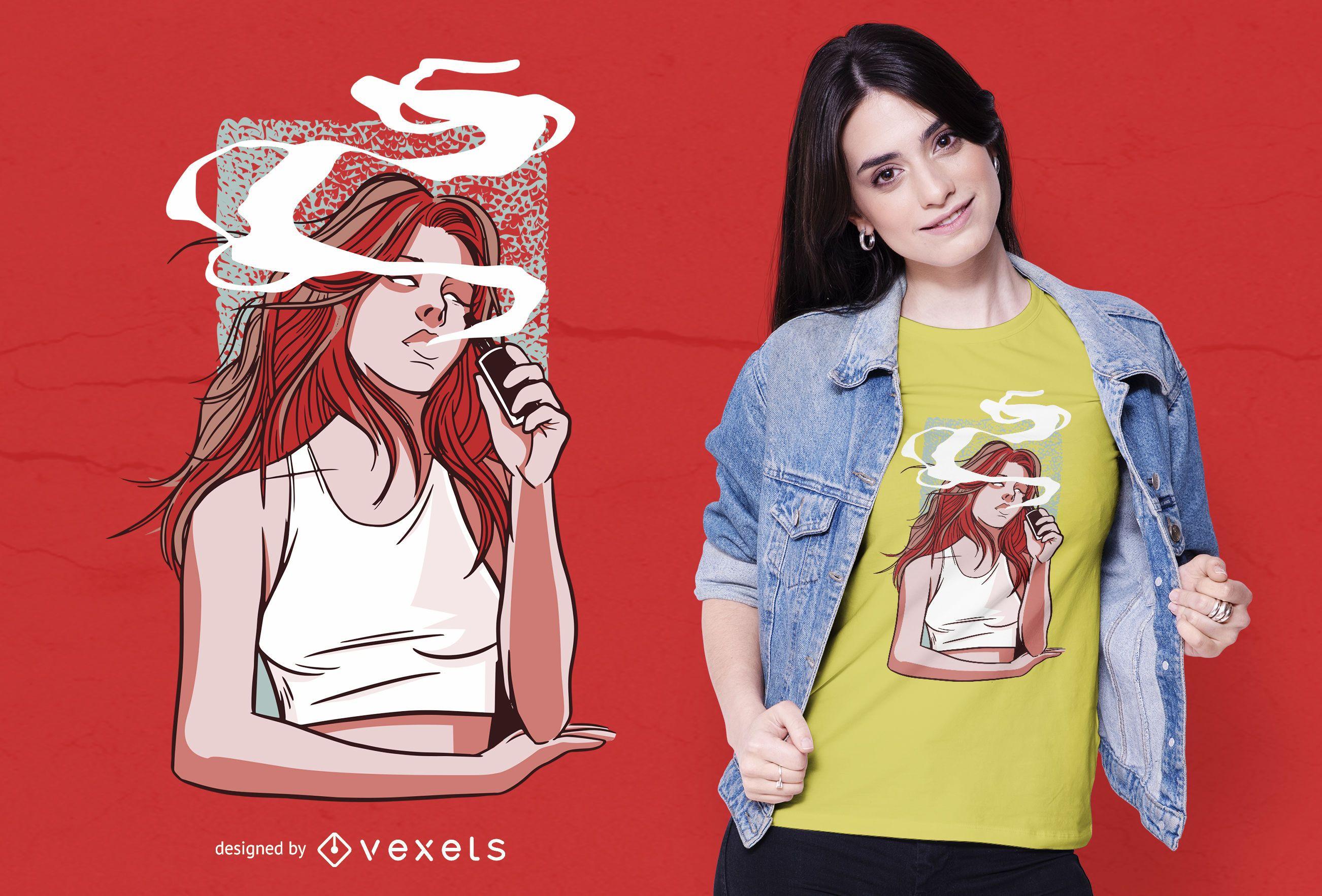 Dise?o de camiseta de ni?a fumando