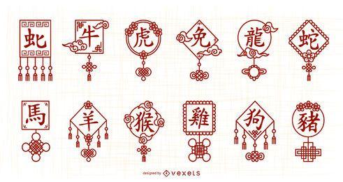 Pacote de símbolos de letras do horóscopo chinês