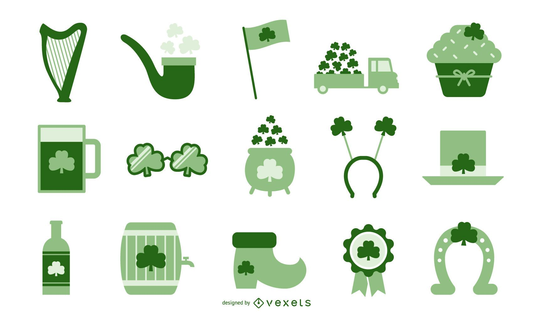 St patricks day flat elements collection
