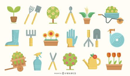Conjunto de ilustración de elementos de herramientas de jardinería