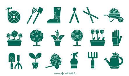 Conjunto de silueta de herramientas de jardinería