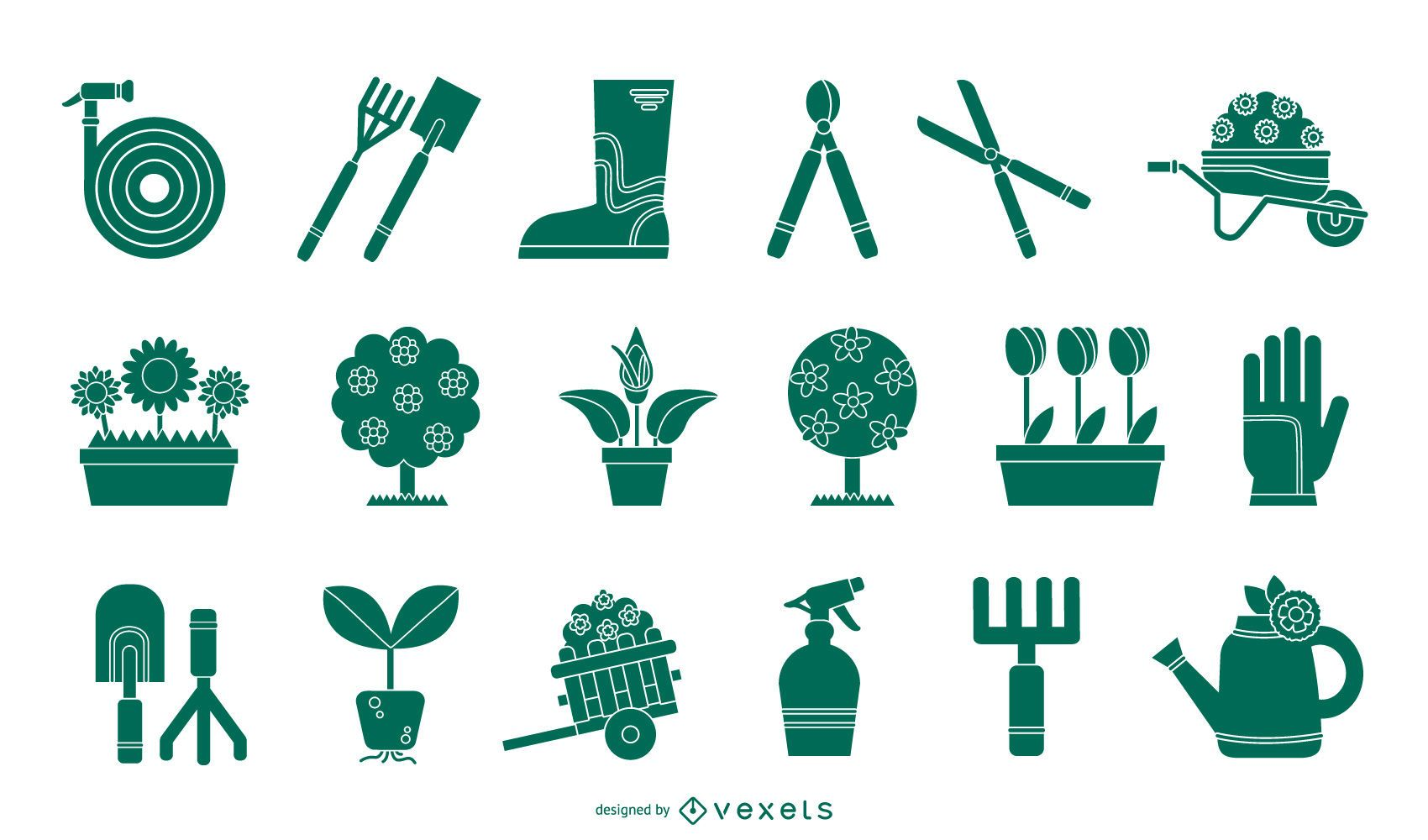 Gardening Tools Silhouette Set