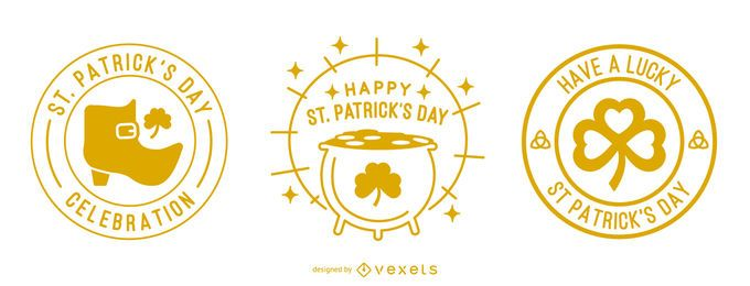 St patricks day stroke badge set