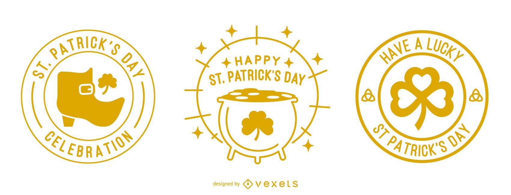 St patricks day stroke badge set