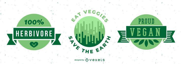 Conjunto de insignias verdes veganas