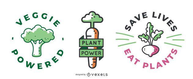 Pacote de Design de Emblemas Veganos