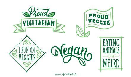 Conjunto de crachá vegan e vegetariano