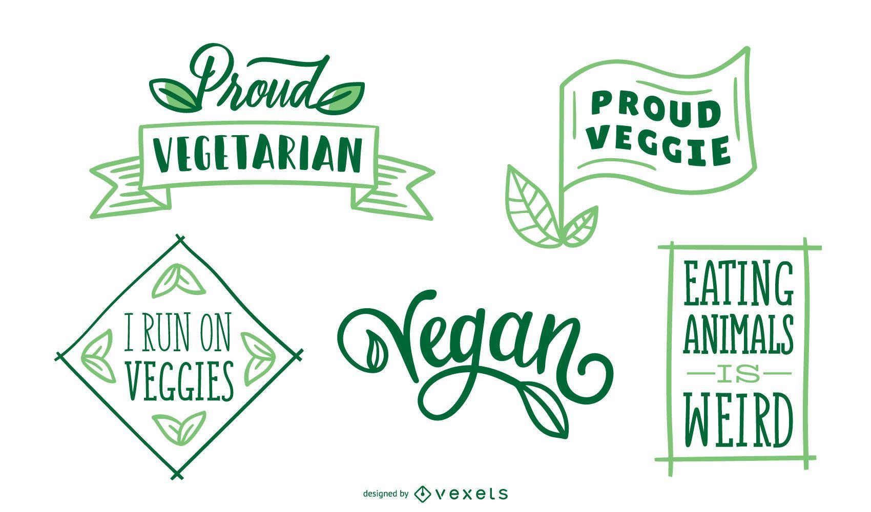 Conjunto de insignias veganas y vegetarianas.