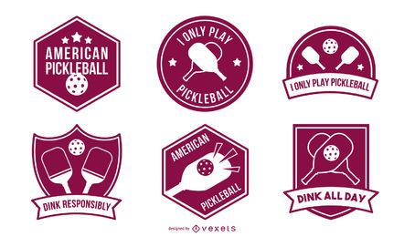 Pickleball badges set
