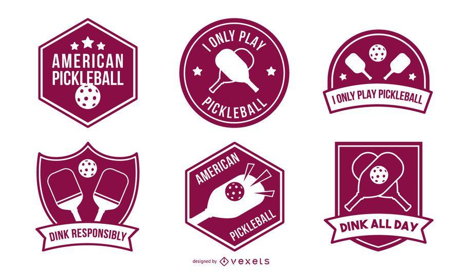 Pickleball badges set