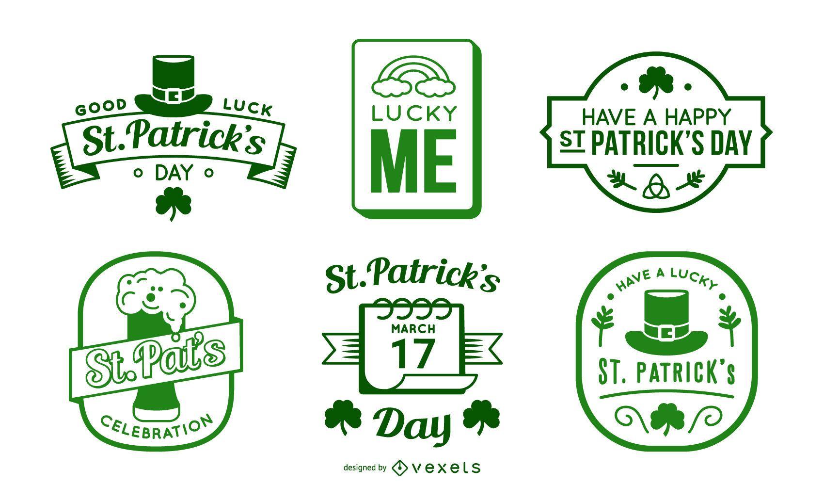 Paquete de insignias del día de san patricio