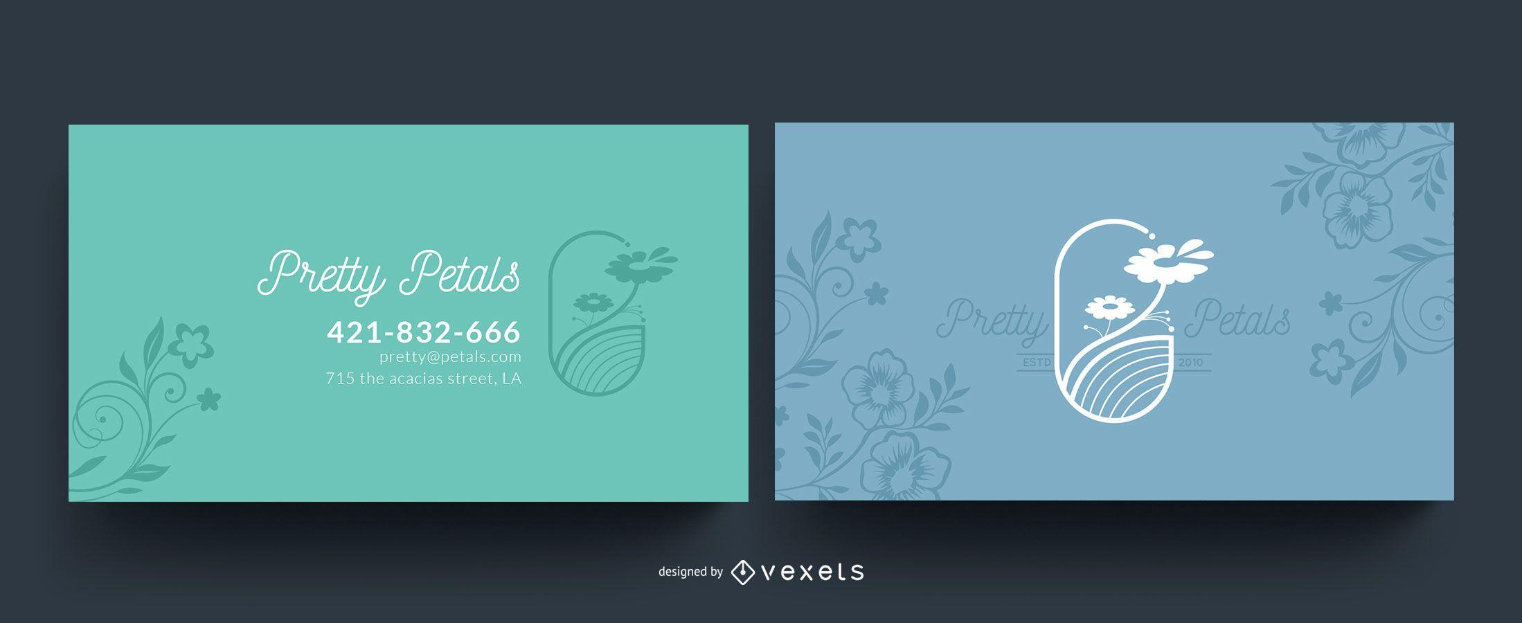 Cartão de visita de pétalas de flores