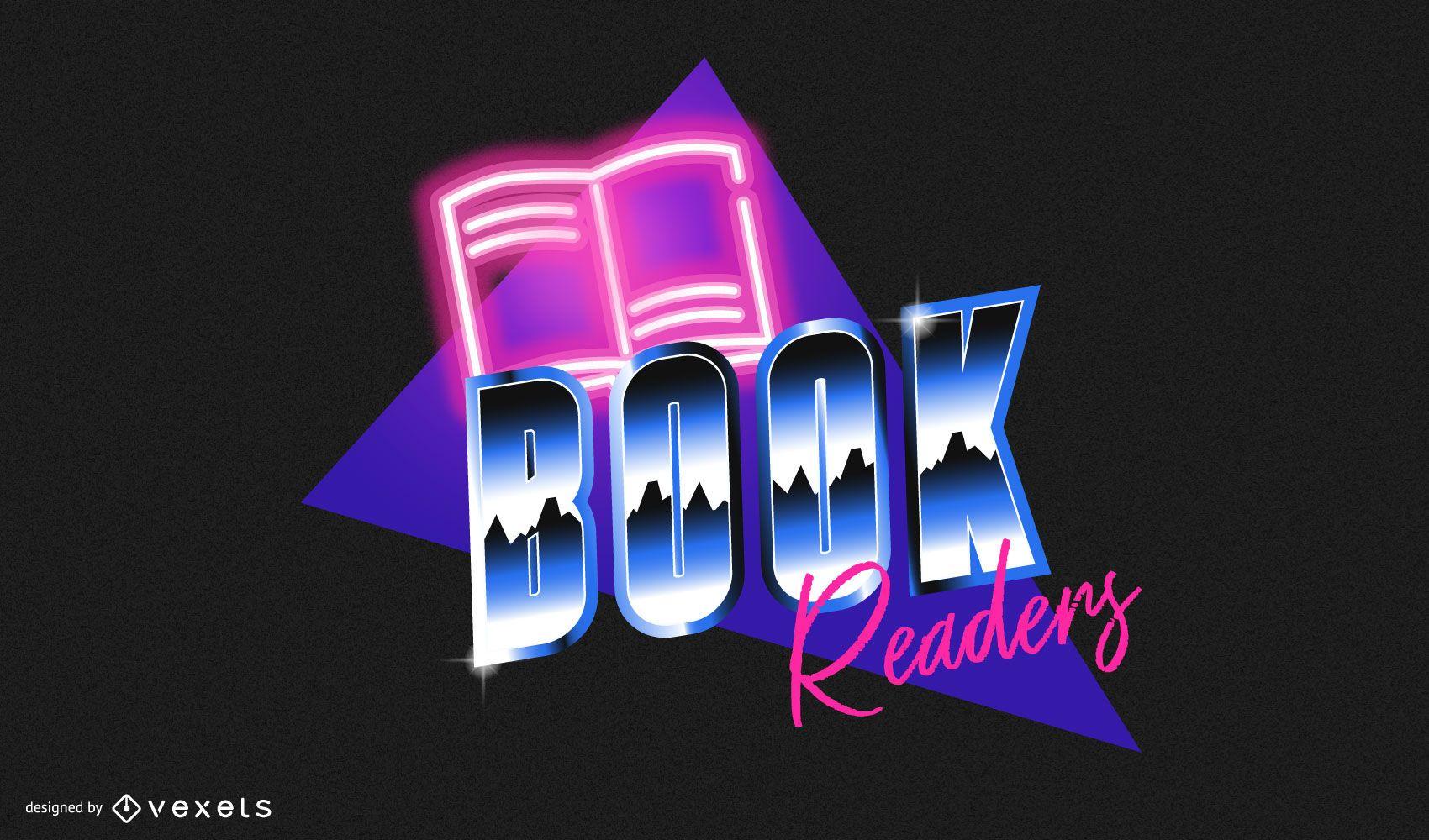 Retro book readers badge