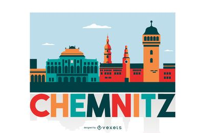 Chemnitz Colored City Skyline Design