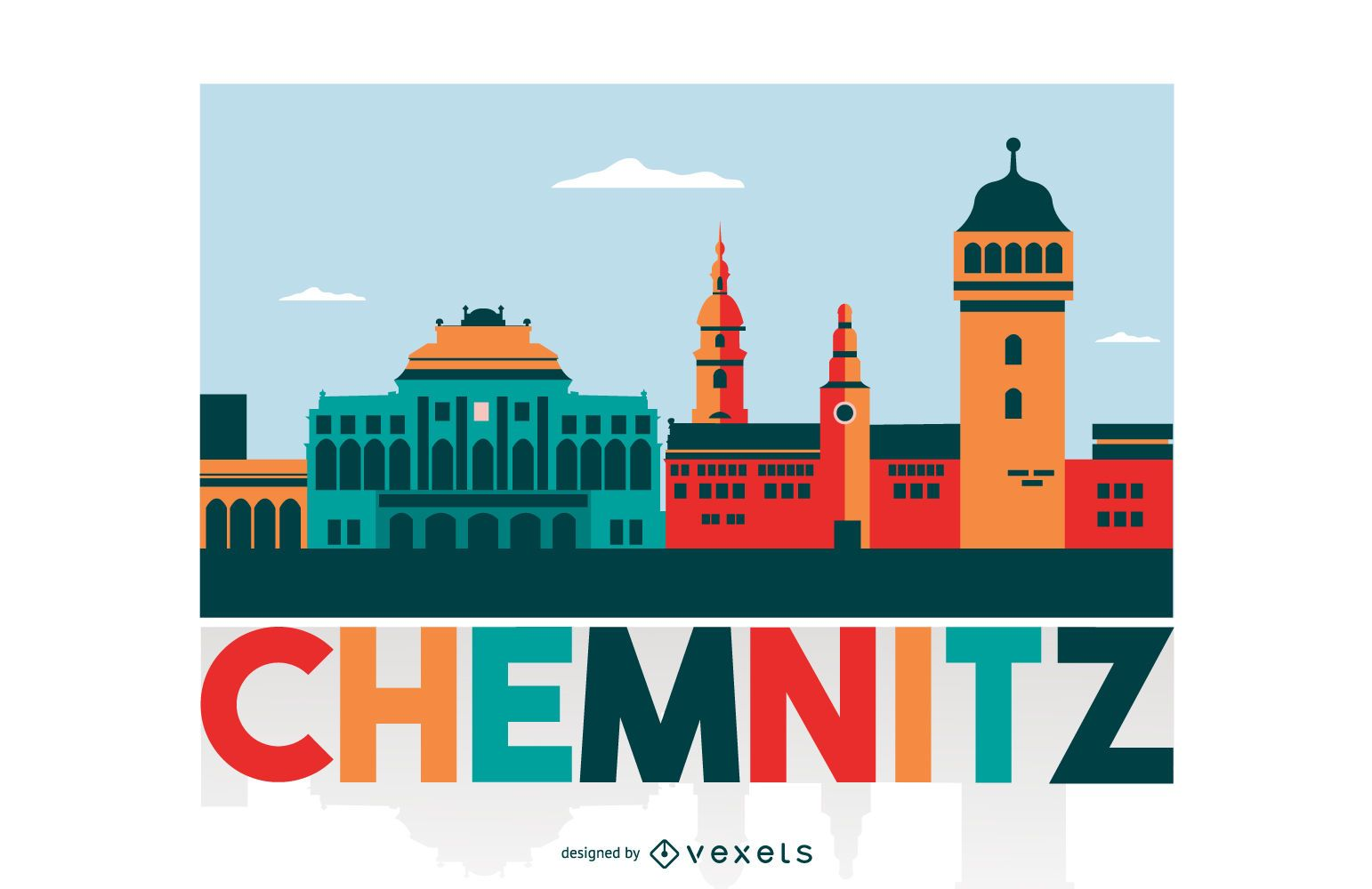 Chemnitz Colored City Skyline Design