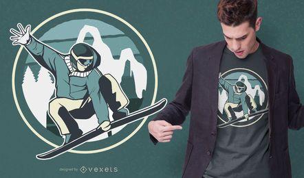 Diseño de camiseta de salto de snowboard.