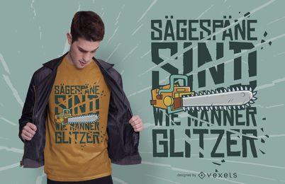 Design de camiseta com glitter serra elétrica