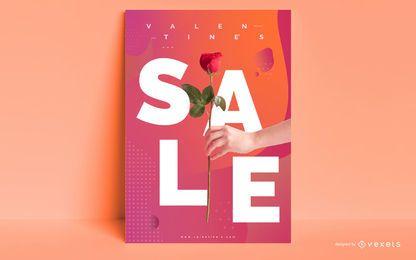 Plantilla de póster de venta de san valentín