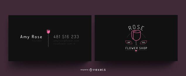 Cartão de visita da flor de Rosa