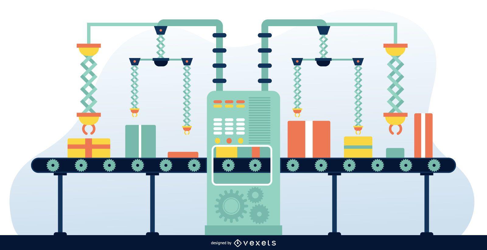 Factory Line Flat Design Graphic