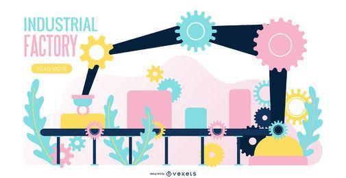 Design de estilo plano de fábrica industrial