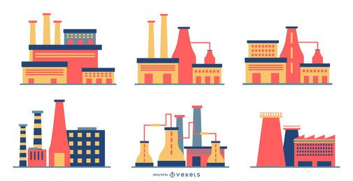 Flat Style Factory Design Set