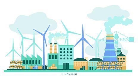 Projeto de construção de energia verde para usina