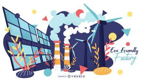 Design gráfico de fábrica ecológica