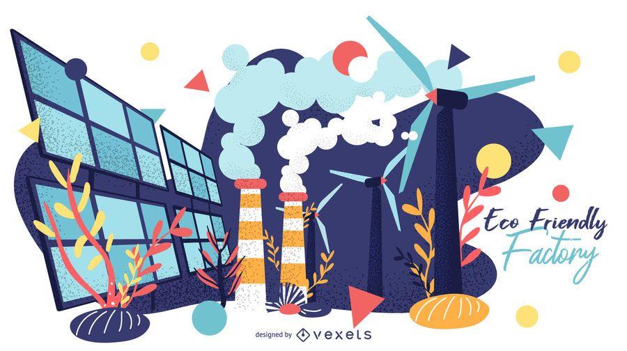 Diseño gráfico de fábrica ecológica
