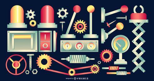 Pacote de elementos de design de fábrica