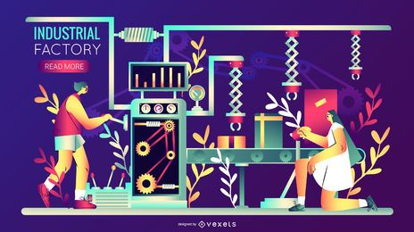 Industrielle Fabrik Illustration Design