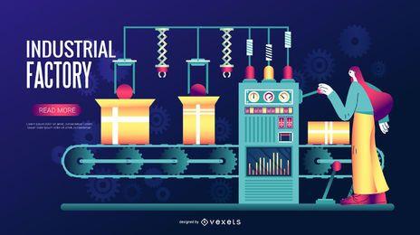 Ilustração digital de fábrica industrial